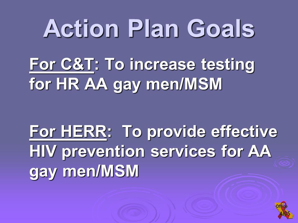 Action Plan Goals For C&T: To increase testing for HR AA gay men/MSM For HERR: To provide effective HIV prevention services for AA gay men/MSM