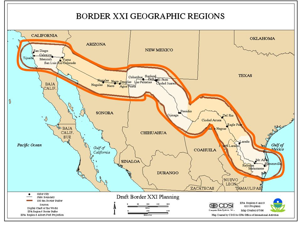 Access To Health Care In The USMexico Border Region Models - Us mexico border crossings map