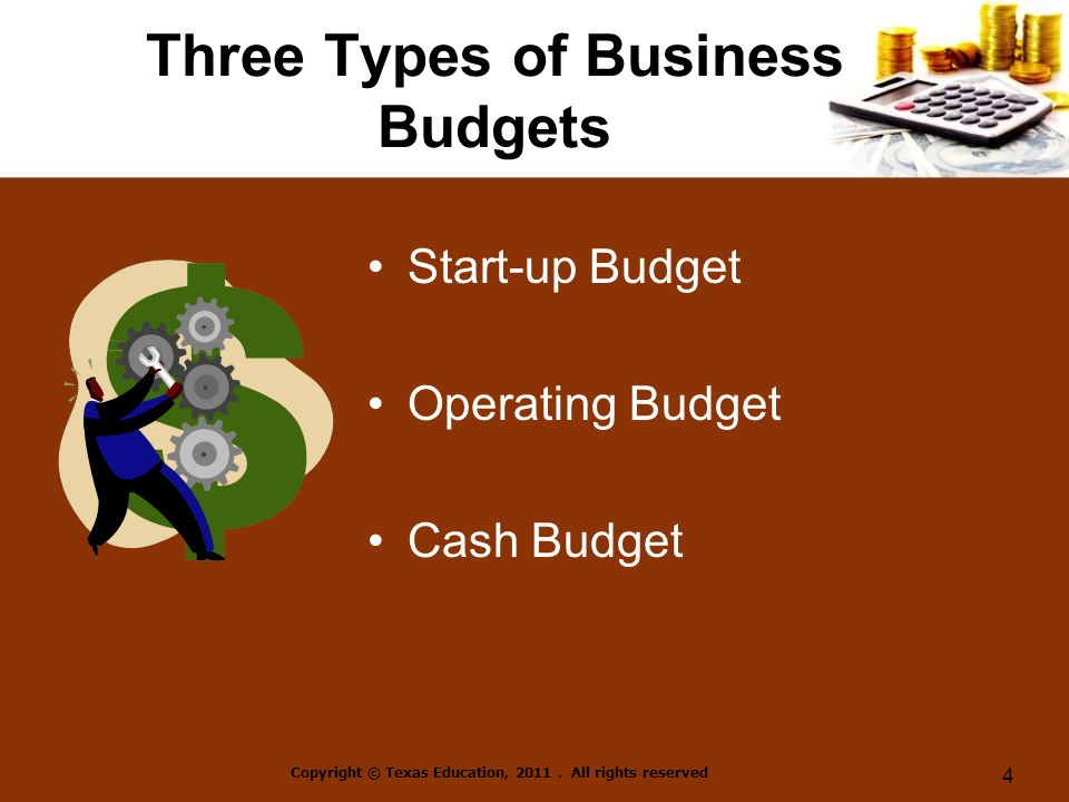 Three Types of Business Budgets Start-up Budget Operating Budget Cash Budget Copyright © Texas Education, 2011.