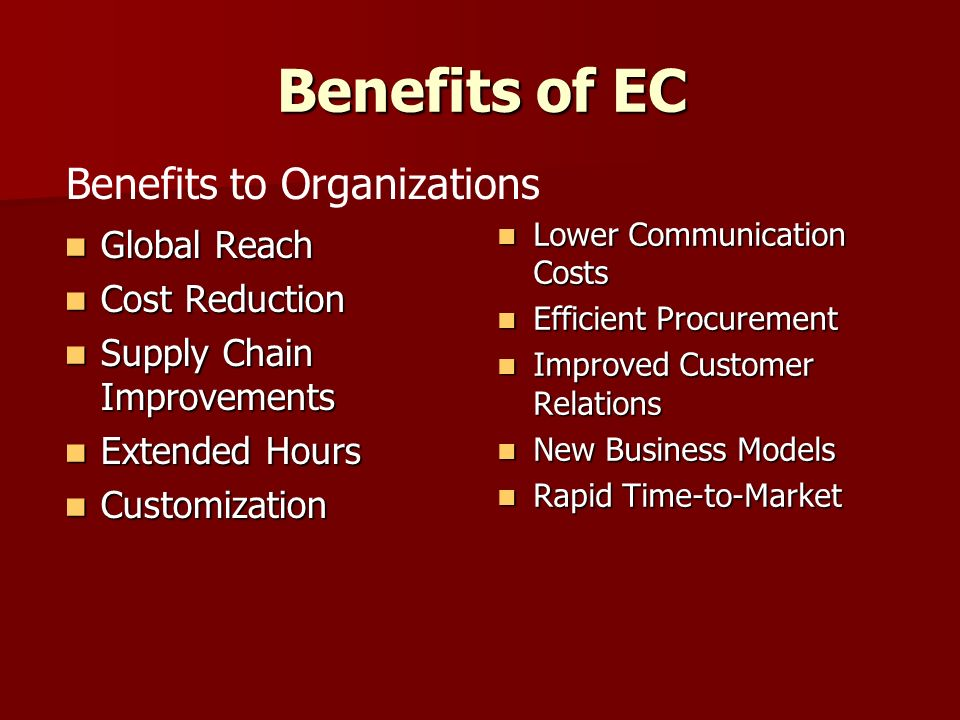 Benefits of EC Ubiquity Ubiquity More Products and Services More Products and Services Cheaper Products and Services Cheaper Products and Services Instant Delivery Instant Delivery Information Availability Information Availability Participation in Auctions Participation in Auctions Electronic Communities Electronic Communities No Sales Tax No Sales Tax Benefits to Consumers