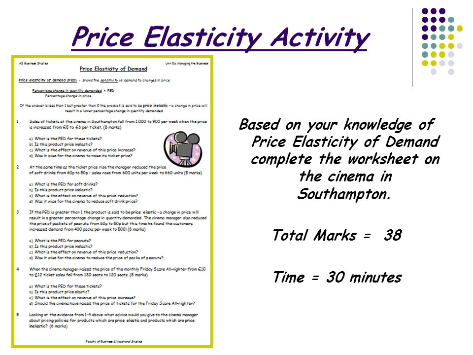 The Marketing Mix Price Price Elasticity of Demand Today you – Elasticity of Demand Worksheet