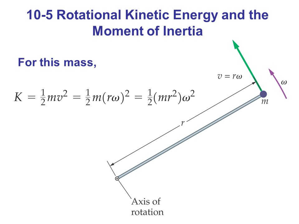 10-5 Rotational Kinetic Energy and the Moment of Inertia For this mass,