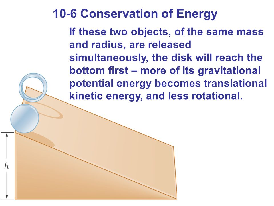 10-6 Conservation of Energy If these two objects, of the same mass and radius, are released simultaneously, the disk will reach the bottom first – more of its gravitational potential energy becomes translational kinetic energy, and less rotational.
