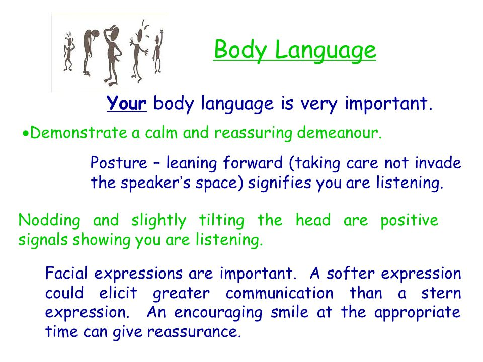 Body Language Your body language is very important.
