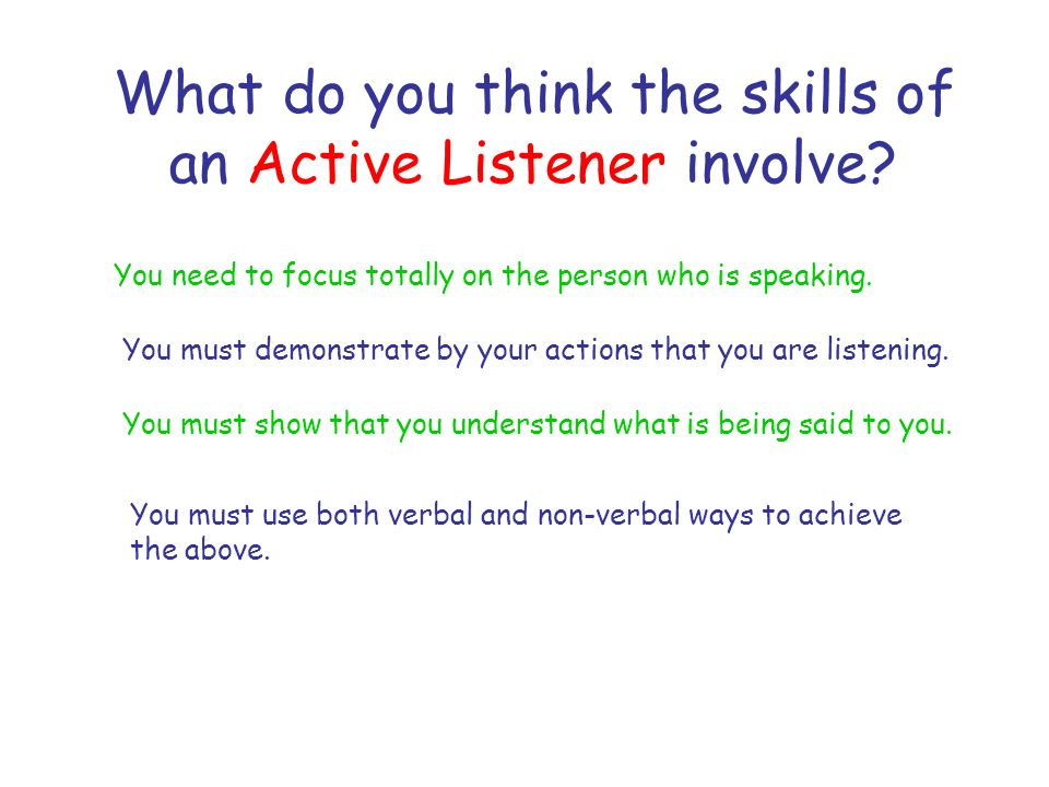 What do you think the skills of an Active Listener involve.