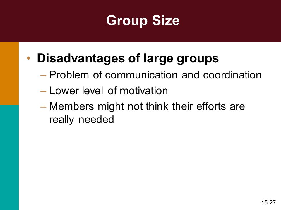 15-27 Group Size Disadvantages of large groups –Problem of communication and coordination –Lower level of motivation –Members might not think their ef