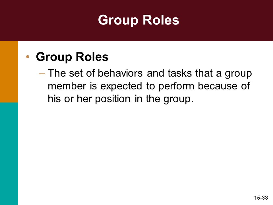 15-33 Group Roles –The set of behaviors and tasks that a group member is expected to perform because of his or her position in the group.