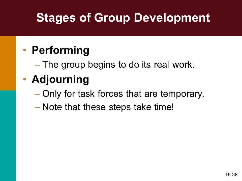 15-38 Stages of Group Development Performing –The group begins to do its real work. Adjourning –Only for task forces that are temporary. –Note that th