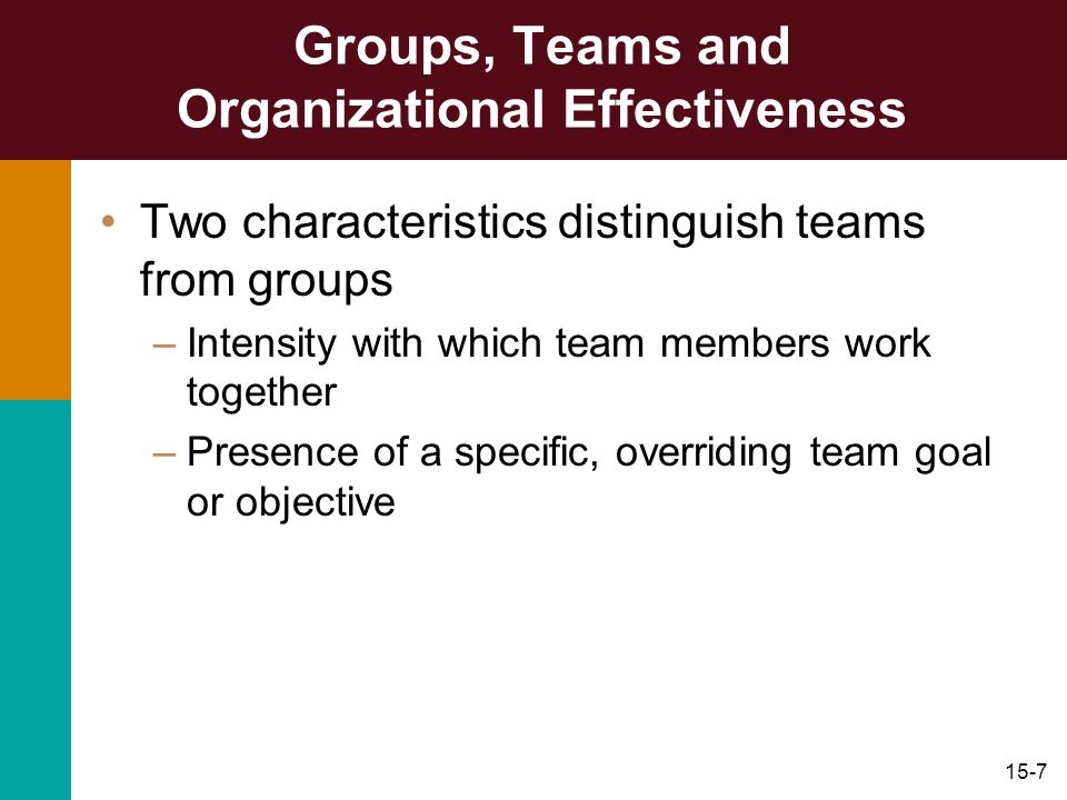 15-7 Groups, Teams and Organizational Effectiveness Two characteristics distinguish teams from groups –Intensity with which team members work together