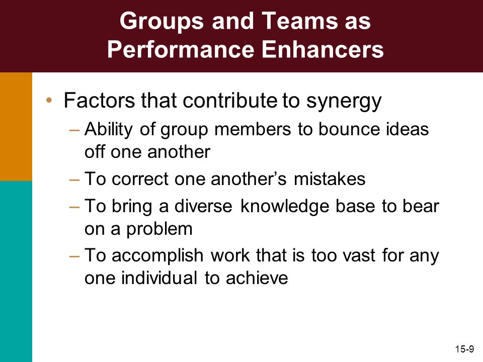 15-9 Groups and Teams as Performance Enhancers Factors that contribute to synergy –Ability of group members to bounce ideas off one another –To correc