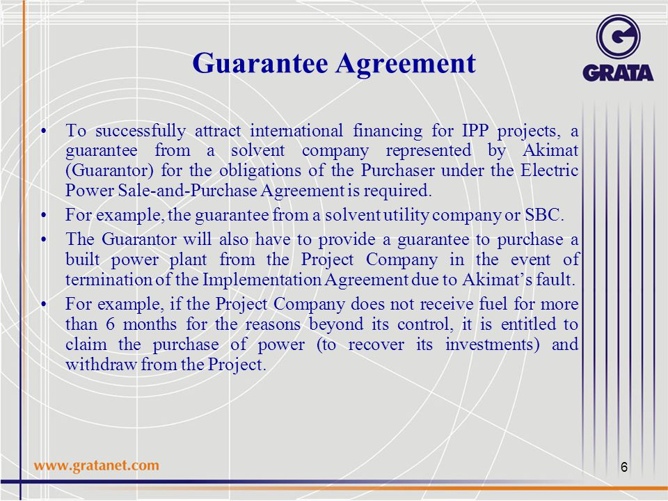 Independent power project ipp as an optimal structure for the 6 guarantee agreement to successfully attract international financing for ipp projects a guarantee from a platinumwayz
