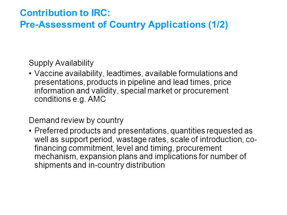 Exceptional Contribution To IRC: Pre Assessment Of Country Applications (1/2) Supply