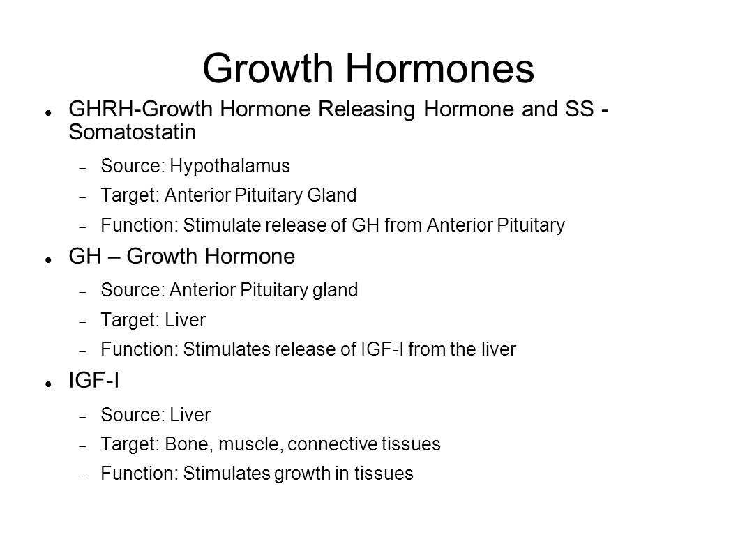 Growth Hormones GHRH-Growth Hormone Releasing Hormone and SS - Somatostatin  Source: Hypothalamus  Target: Anterior Pituitary Gland  Function: Stimulate release of GH from Anterior Pituitary GH – Growth Hormone  Source: Anterior Pituitary gland  Target: Liver  Function: Stimulates release of IGF-I from the liver IGF-I  Source: Liver  Target: Bone, muscle, connective tissues  Function: Stimulates growth in tissues