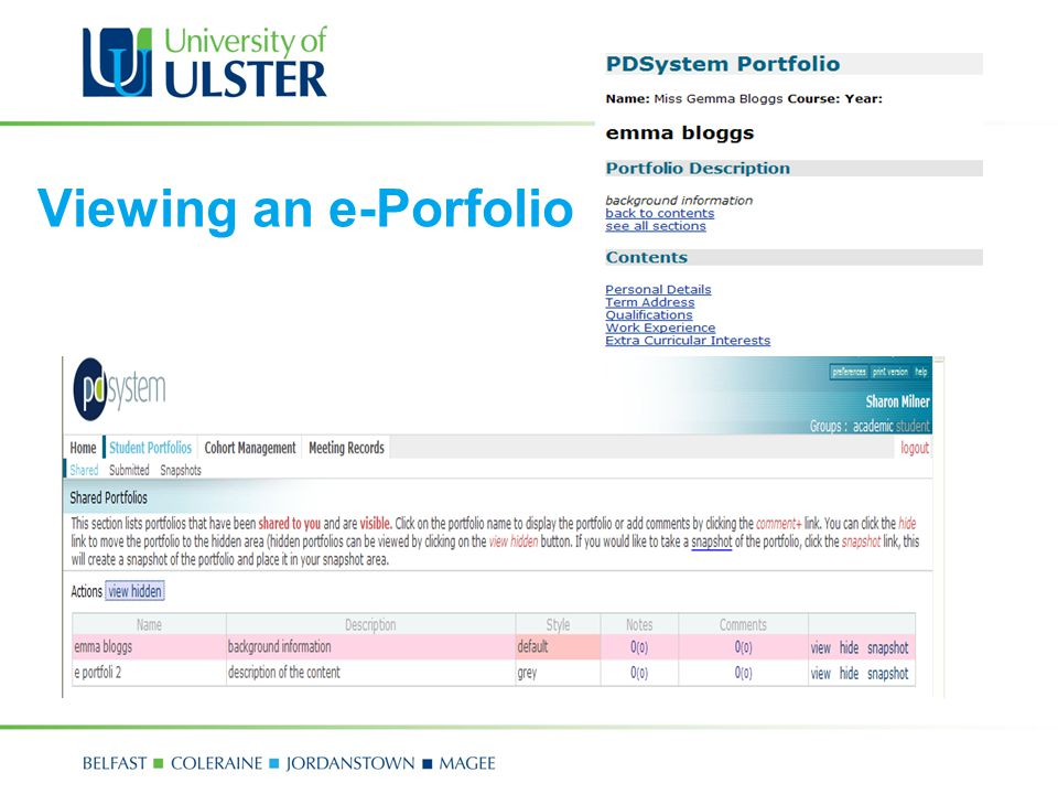 Viewing an e-Porfolio