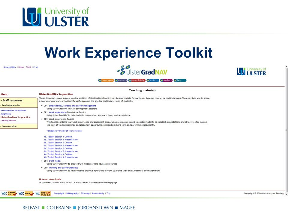 Work Experience Toolkit