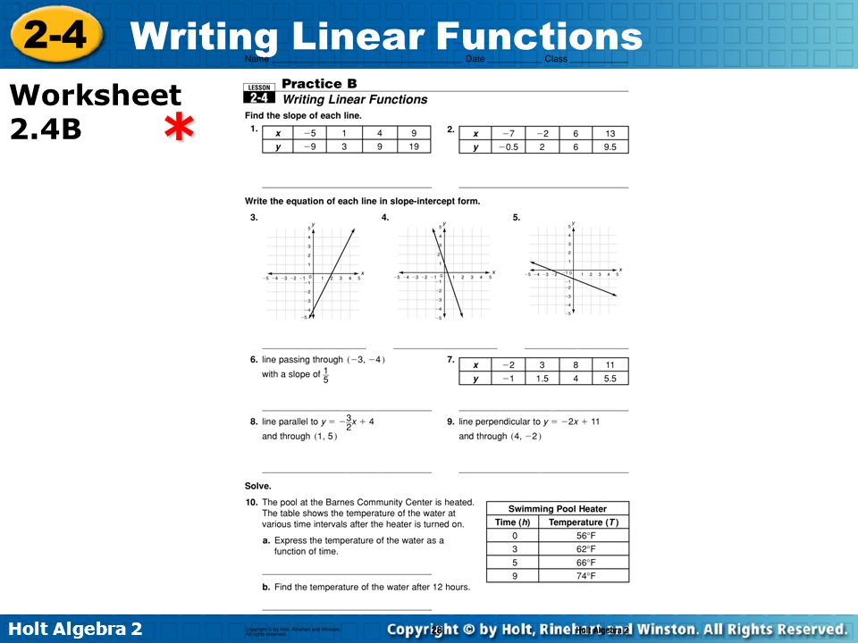 Printables Linear Functions Worksheet Algebra 2 holt algebra writing linear functions 2 4 worksheet 4b