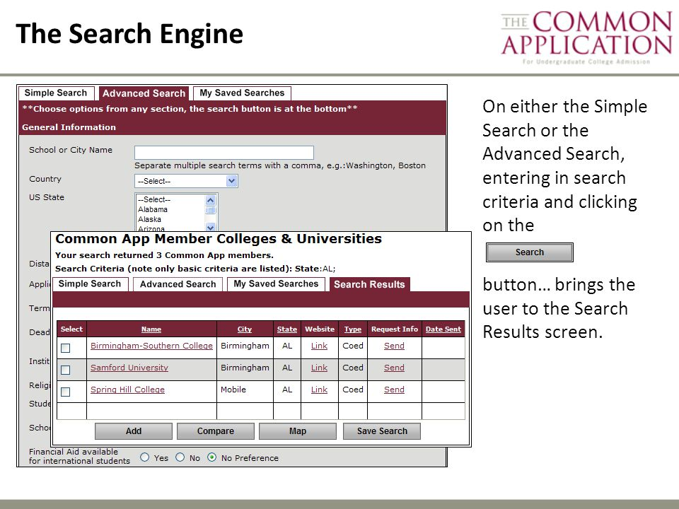 The Search Engine On either the Simple Search or the Advanced Search, entering in search criteria and clicking on the button… brings the user to the Search Results screen.
