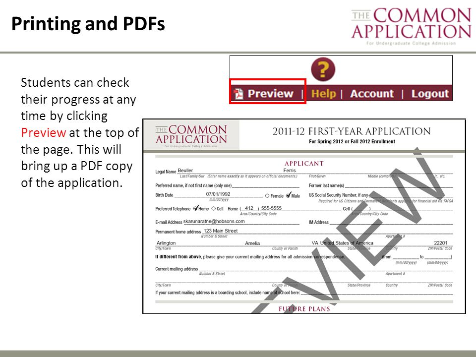 Printing and PDFs Students can check their progress at any time by clicking Preview at the top of the page.