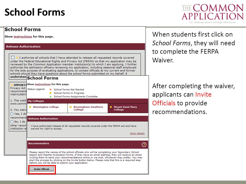 School Forms When students first click on School Forms, they will need to complete the FERPA Waiver.