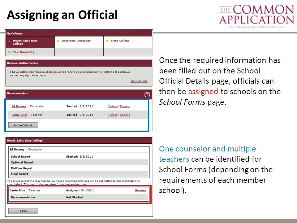 Assigning an Official Once the required information has been filled out on the School Official Details page, officials can then be assigned to schools on the School Forms page.
