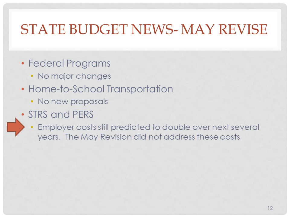 Federal Programs No major changes Home-to-School Transportation No new proposals STRS and PERS Employer costs still predicted to double over next several years.