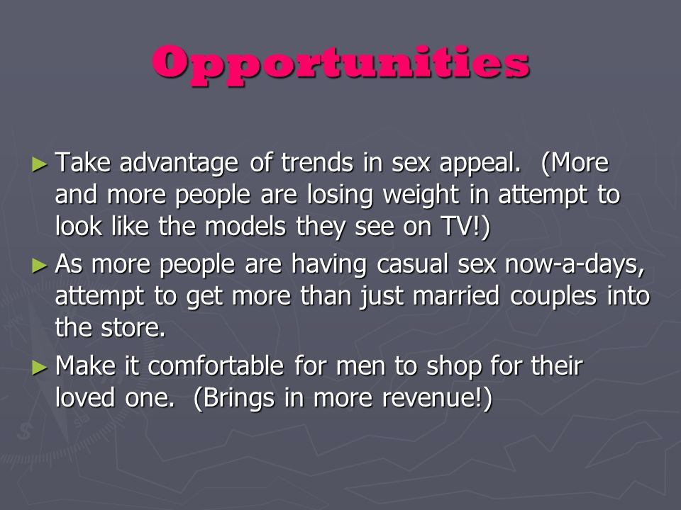 Opportunities ► Take advantage of trends in sex appeal.