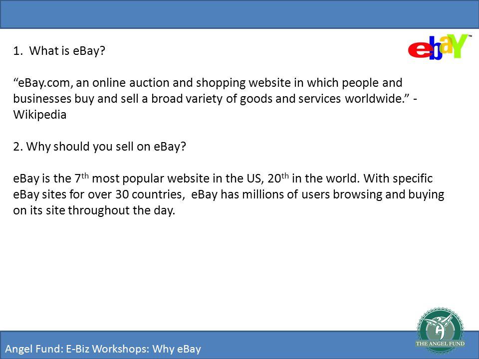 Angel Fund: E-Biz Workshops: eBay Angel Fund Network Presents: - ppt ...
