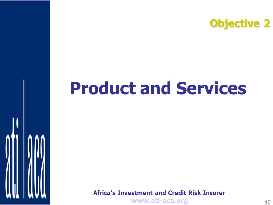 Africa's Investment and Credit Risk Insurer   10 Objective 2 Product and Services