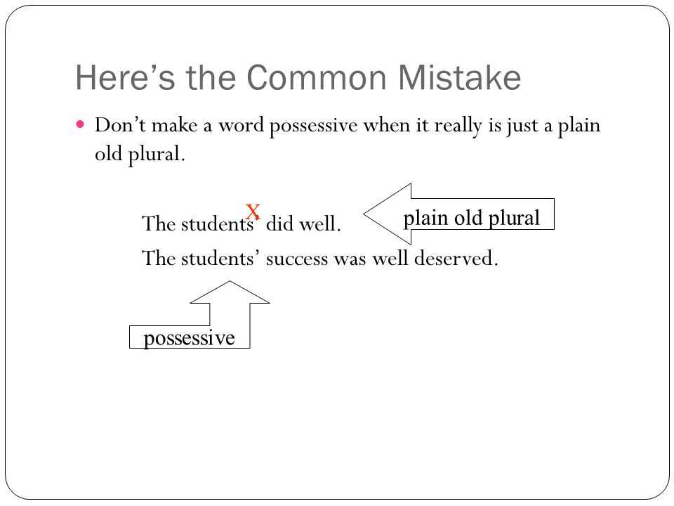 Here's the Common Mistake Don't make a word possessive when it really is just a plain old plural.