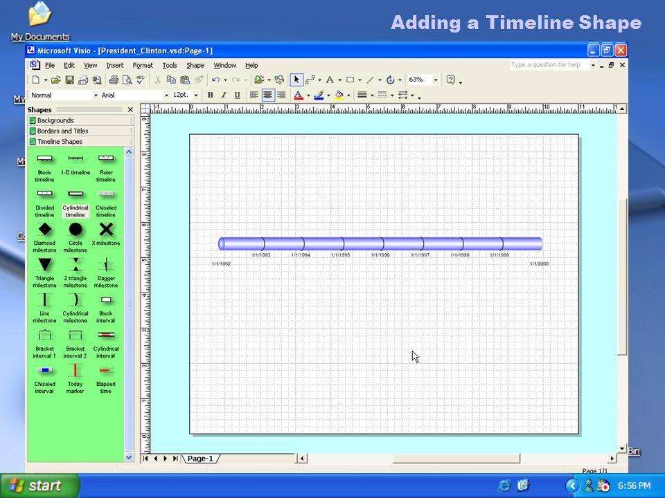 adding a timeline shape to add a timeline shape 1in the shapes pane - Visio Timeline Shapes