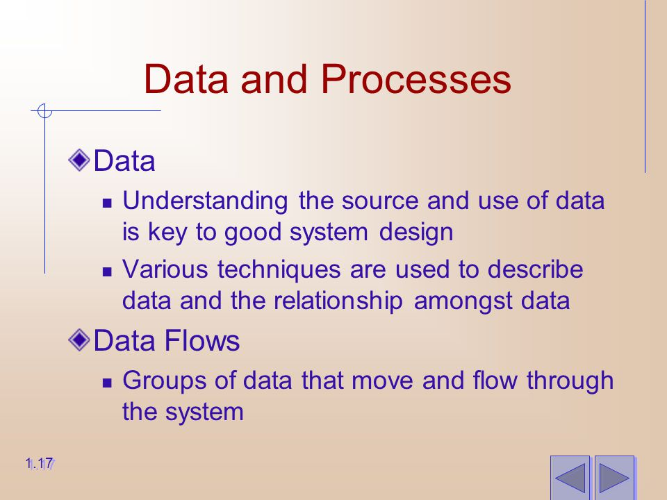 Data and Processes Data Understanding the source and use of data is key to good system design Various techniques are used to describe data and the relationship amongst data Data Flows Groups of data that move and flow through the system 1.17