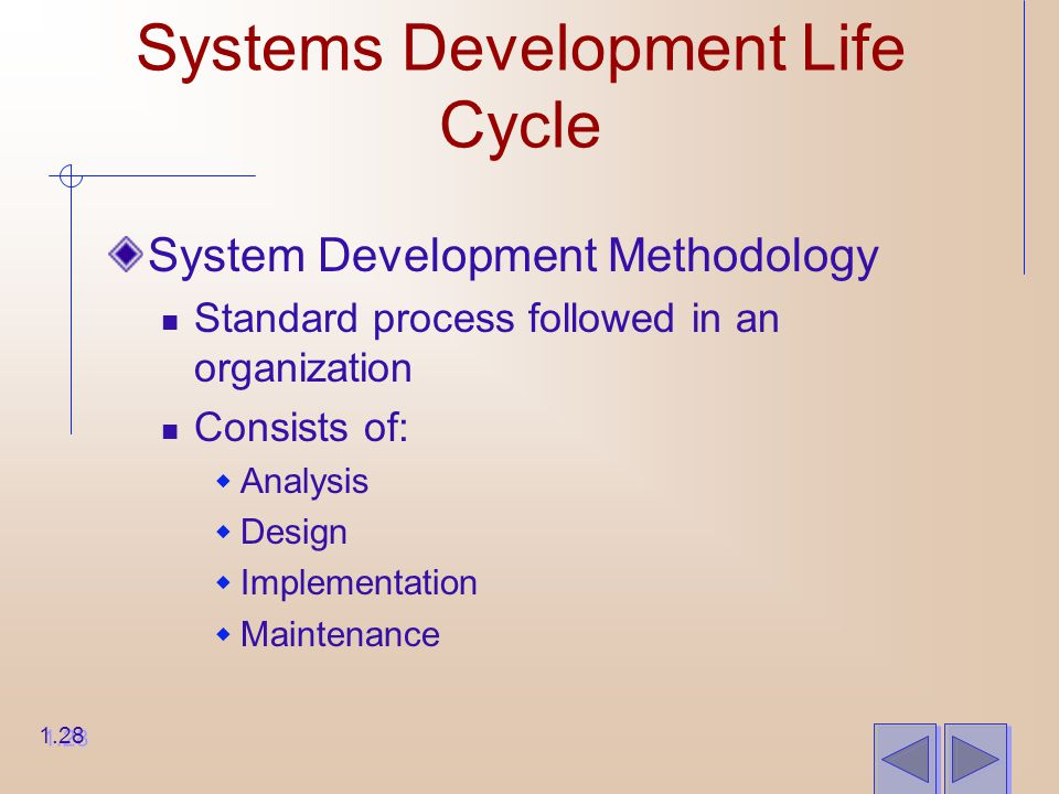Systems Development Life Cycle System Development Methodology Standard process followed in an organization Consists of:  Analysis  Design  Implementation  Maintenance 1.28