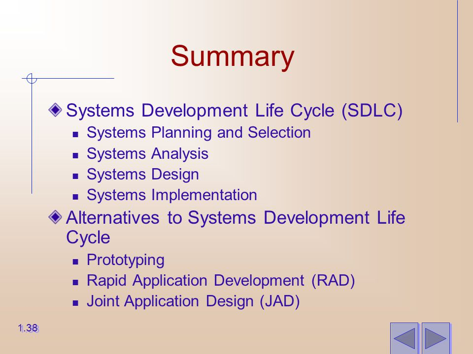 Summary Systems Development Life Cycle (SDLC) Systems Planning and Selection Systems Analysis Systems Design Systems Implementation Alternatives to Systems Development Life Cycle Prototyping Rapid Application Development (RAD) Joint Application Design (JAD) 1.38