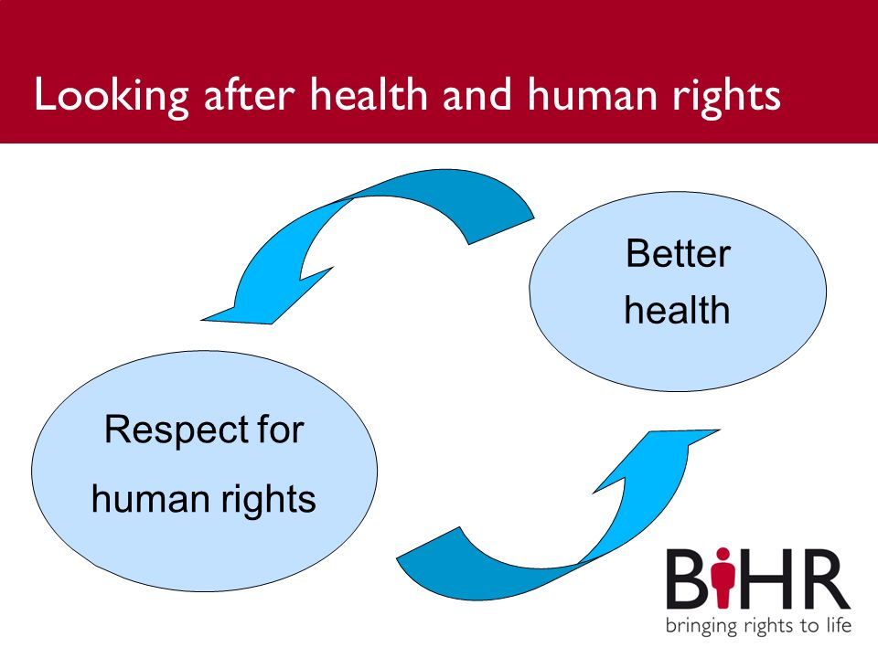 Looking after health and human rights Respect for human rights Better health