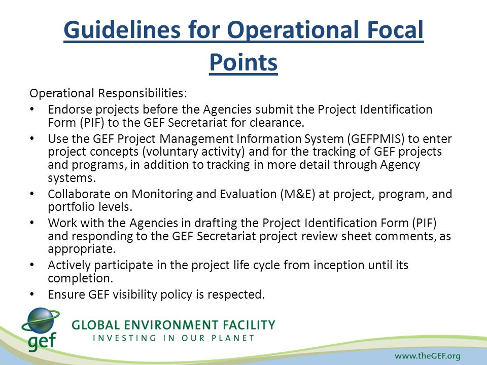 Guidelines for Operational Focal Points Operational Responsibilities: Endorse projects before the Agencies submit the Project Identification Form (PIF) to the GEF Secretariat for clearance.