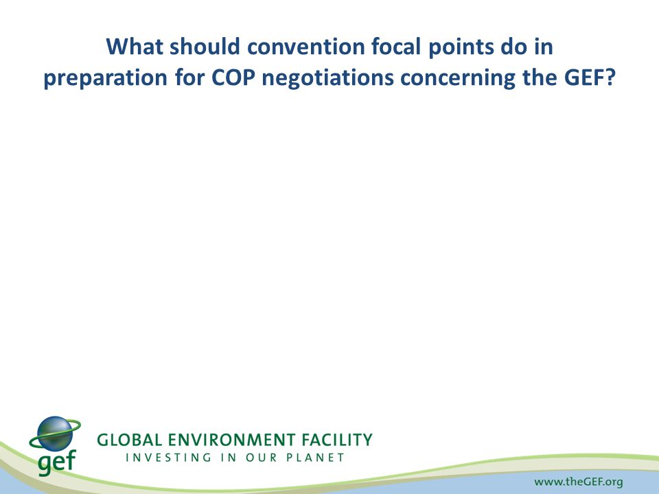 What should convention focal points do in preparation for COP negotiations concerning the GEF