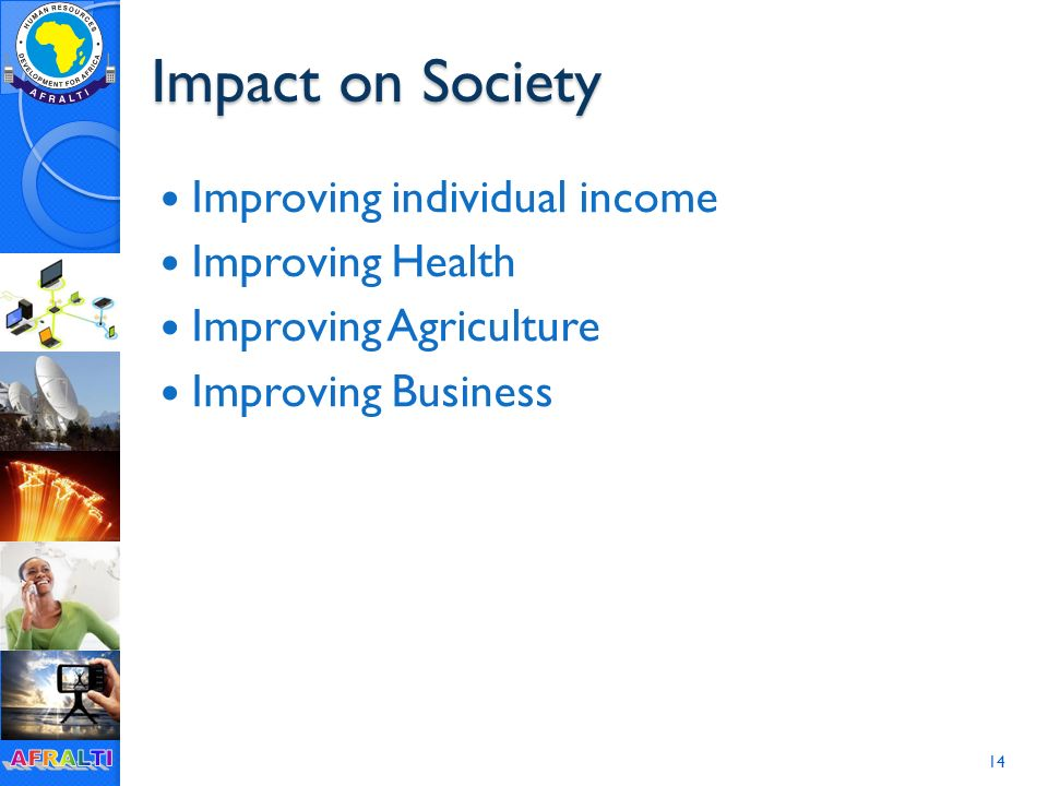 Impact on Society Improving individual income Improving Health Improving Agriculture Improving Business 14
