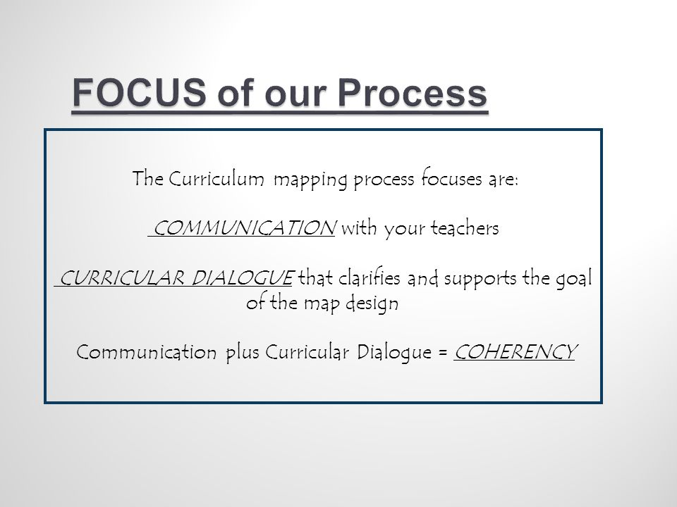 The Curriculum mapping process focuses are: COMMUNICATION with your teachers CURRICULAR DIALOGUE that clarifies and supports the goal of the map design Communication plus Curricular Dialogue = COHERENCY