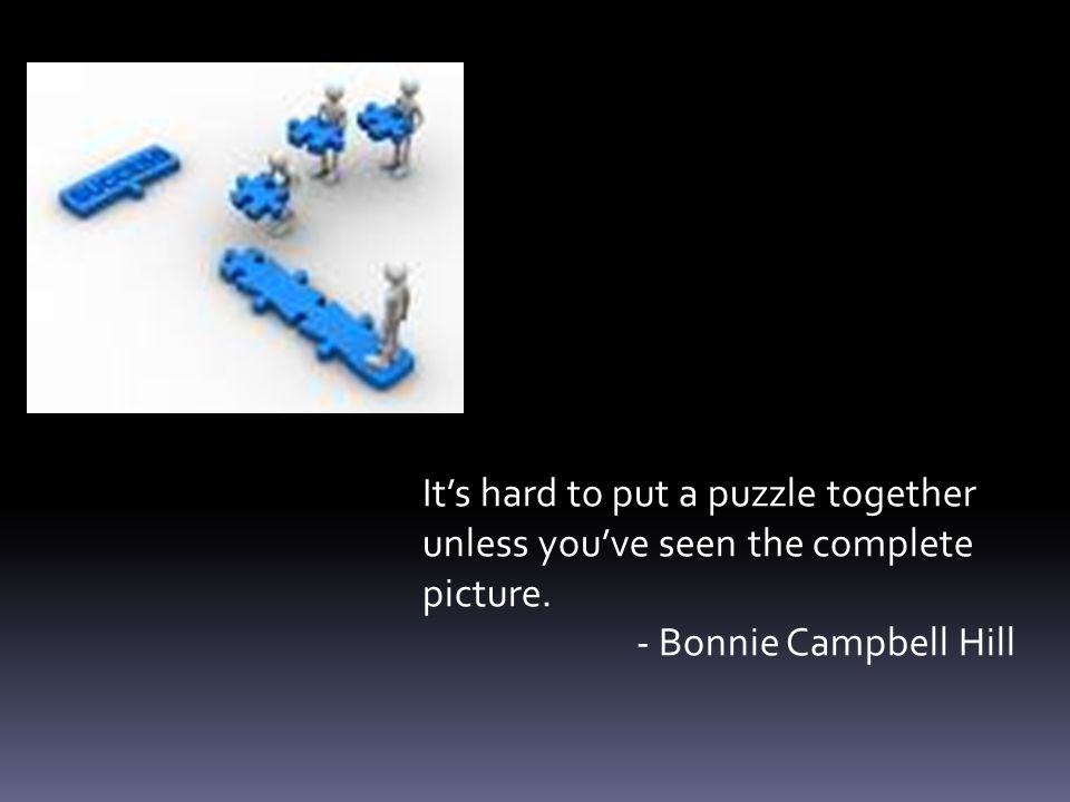It's hard to put a puzzle together unless you've seen the complete picture. - Bonnie Campbell Hill