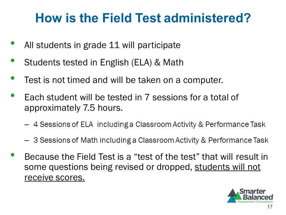 How is the Field Test administered.