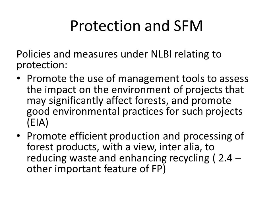 Protection and SFM Policies and measures under NLBI relating to protection: Promote the use of management tools to assess the impact on the environment of projects that may significantly affect forests, and promote good environmental practices for such projects (EIA) Promote efficient production and processing of forest products, with a view, inter alia, to reducing waste and enhancing recycling ( 2.4 – other important feature of FP)