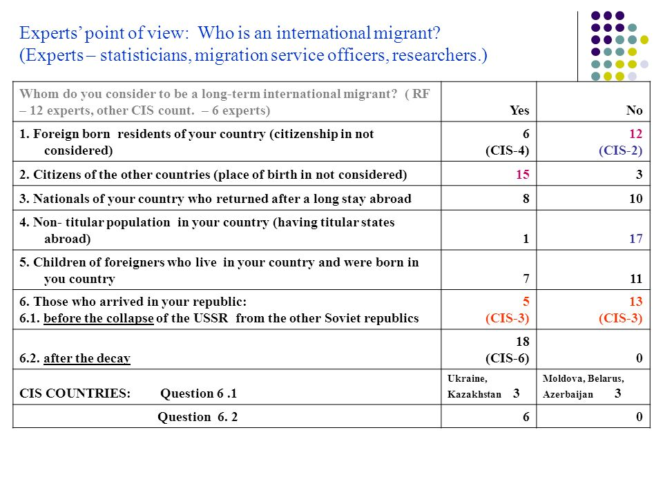 Experts' point of view: Who is an international migrant.