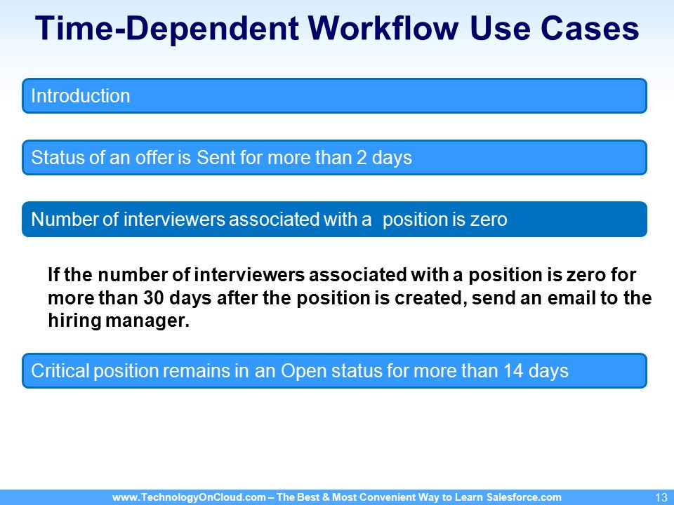 – The Best & Most Convenient Way to Learn Salesforce.com 13 Time-Dependent Workflow Use Cases If the number of interviewers associated with a position is zero for more than 30 days after the position is created, send an  to the hiring manager.