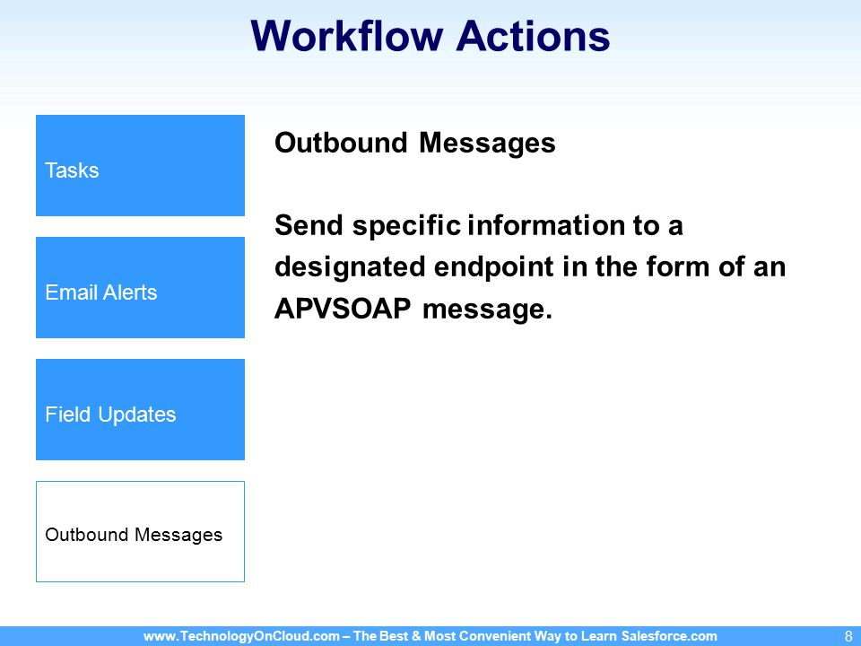 – The Best & Most Convenient Way to Learn Salesforce.com 8 Workflow Actions Outbound Messages Send specific information to a designated endpoint in the form of an APVSOAP message.