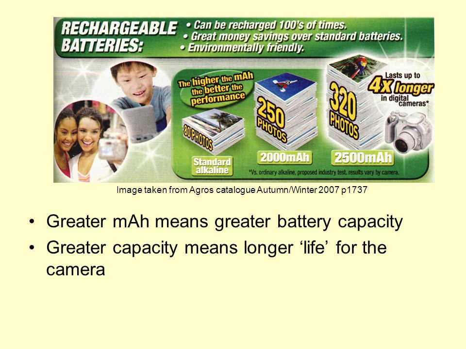 Greater mAh means greater battery capacity Greater capacity means longer 'life' for the camera Image taken from Agros catalogue Autumn/Winter 2007 p1737