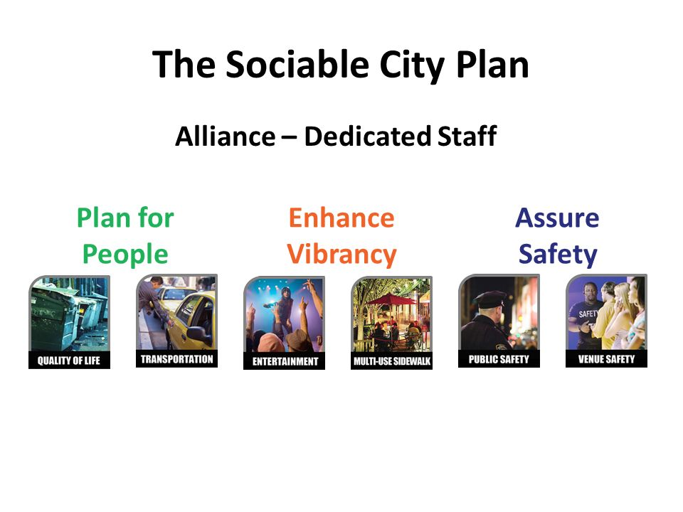 The Sociable City Plan Plan for People Enhance Vibrancy Assure Safety Alliance – Dedicated Staff