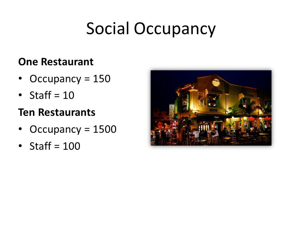 Social Occupancy One Restaurant Occupancy = 150 Staff = 10 Ten Restaurants Occupancy = 1500 Staff = 100