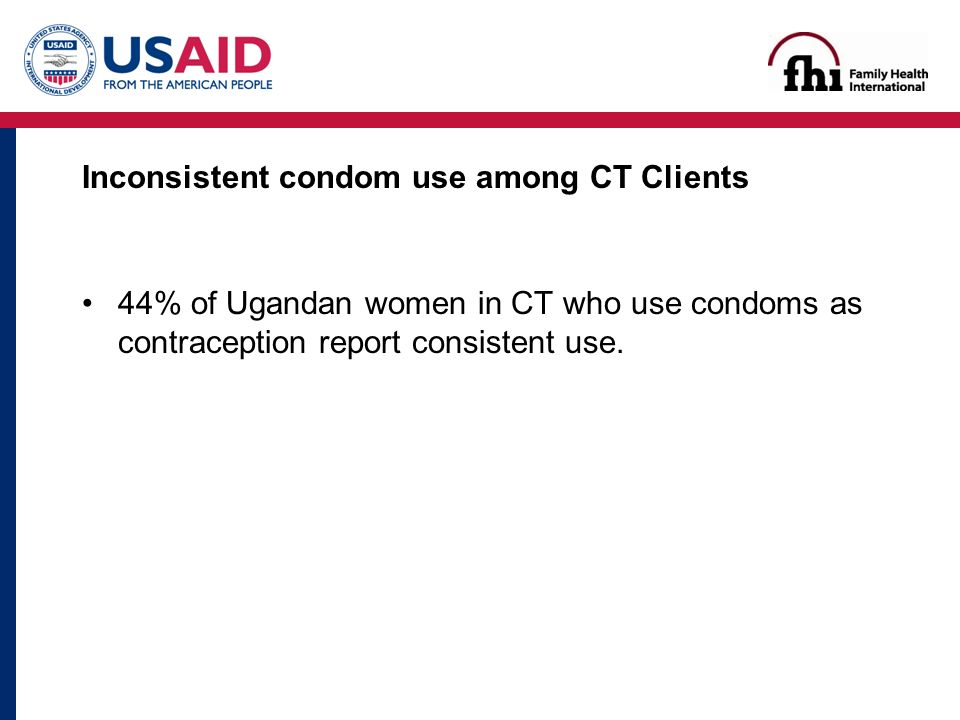 Inconsistent condom use among CT Clients 44% of Ugandan women in CT who use condoms as contraception report consistent use.