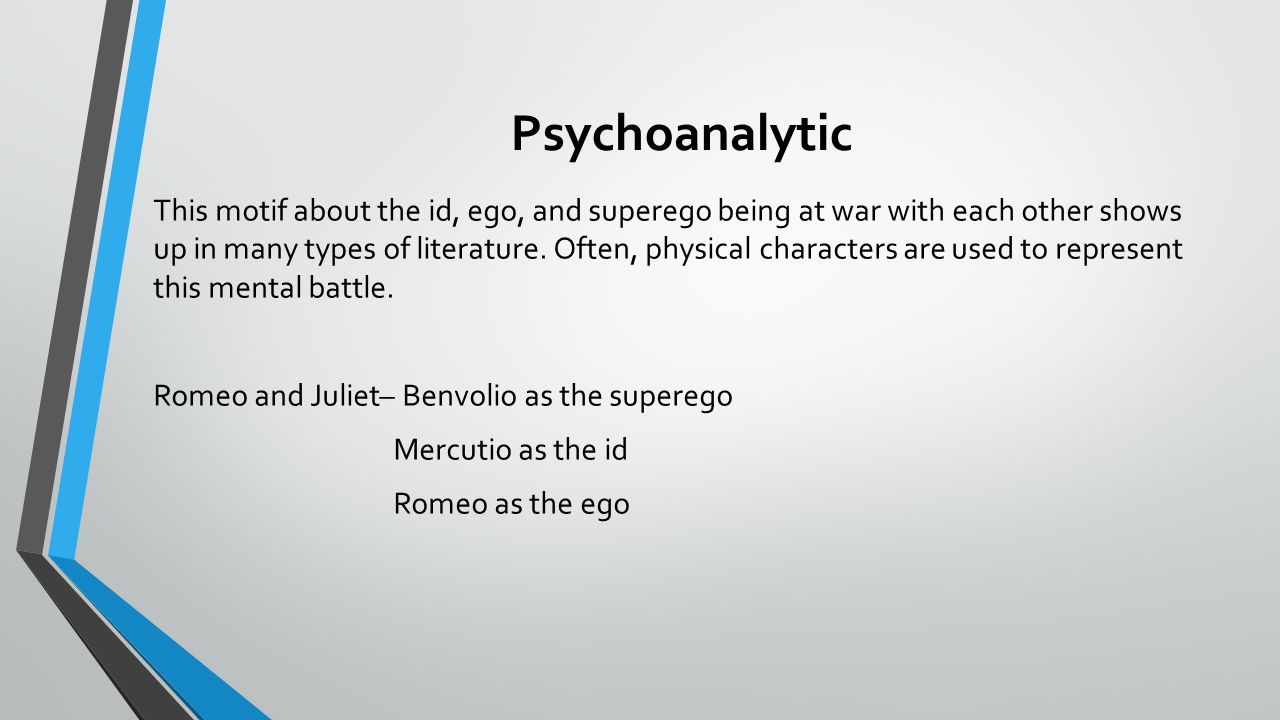 introduction to literary criticism different perspectives in psychoanalytic this motif about the id ego and superego being at war each