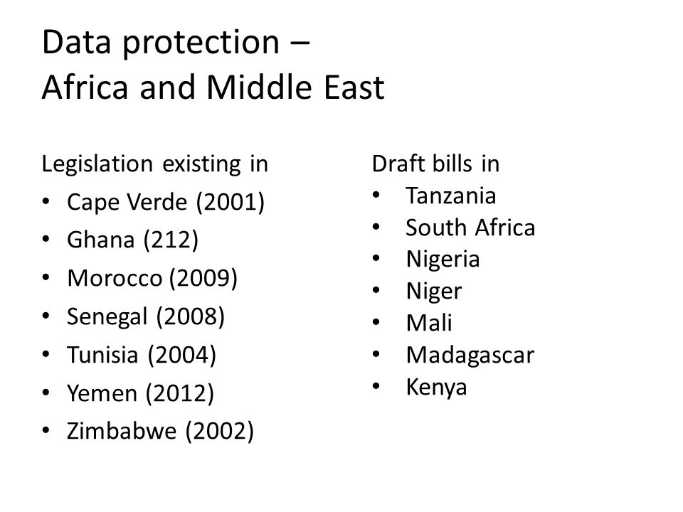 Data protection – Africa and Middle East Legislation existing in Cape Verde (2001) Ghana (212) Morocco (2009) Senegal (2008) Tunisia (2004) Yemen (2012) Zimbabwe (2002) Draft bills in Tanzania South Africa Nigeria Niger Mali Madagascar Kenya